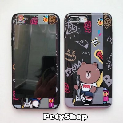 Combo ốp + cường lực Brown Cony Stitch iPhone 6 Plus/6S Plus