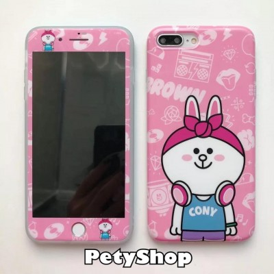 Combo ốp + cường lực Brown Cony Stitch iPhone 6/6S