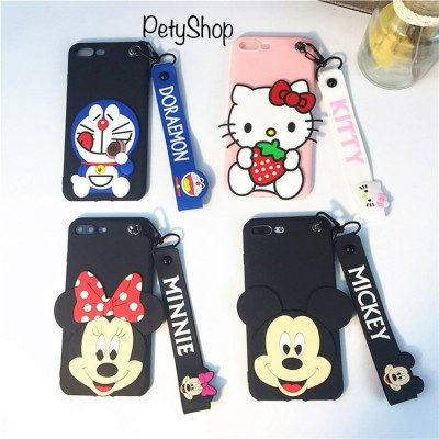 Ốp dẻo Doremon/Kitty/Mickey/Minnie + dây iPhone 7 Plus/8 Plus