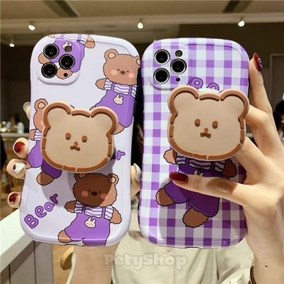 Ốp bọc camera gấu tím + socket iPhone XS Max